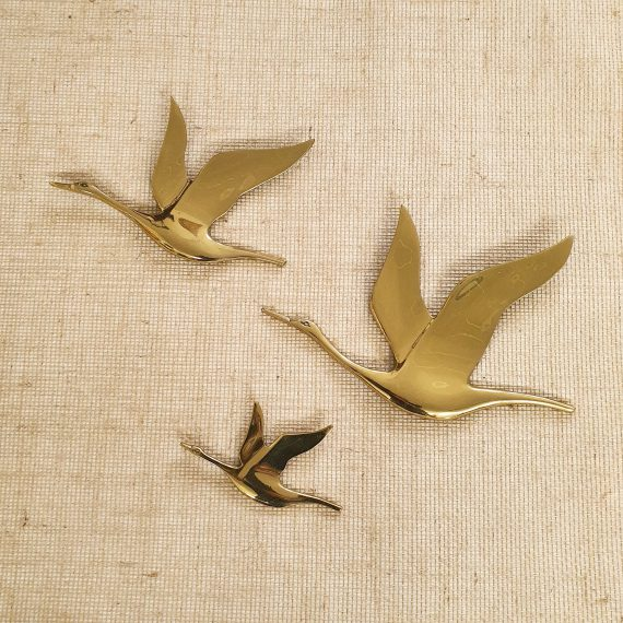 Mid Century set messing Vliegende Zwanen voor aan de wand - Brass wall Swans - €190