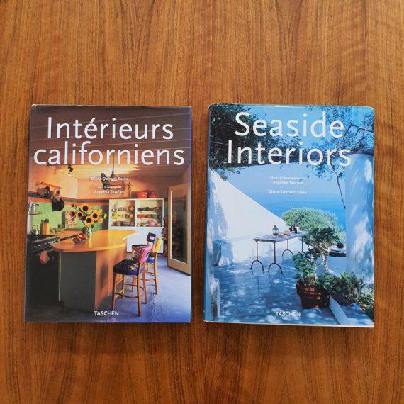 Grote Taschen Interieur Boeken - Interieurs Californiens (1999) en Seaside Interiors (2000) -in goede staat - 33x25x3cm - Interior design Books both books in English, German and French, all in one - Per stuk €40