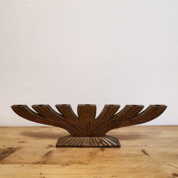 Zweedse houten Kandelaar / Raamkandelaar met houtsnijwerk - Scandinavisch design - 53x14x7cm - €120