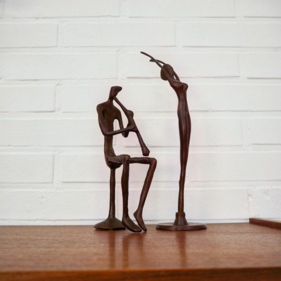 Vintage Bronzen beeldjes 28 en 23 cm hoog - Ballerina Danseres (VERKOCHT) en Fluitspeler / Muzikant - Per stuk €30