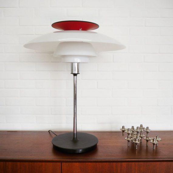In Nieuwstaat; PH80 Tafellamp - Poul Henningsen voor Louis Poulsen - Vintage Danish design table lamp - jaren 80, niet meer in productie - aluminium en acrylaat - H70cm Ø55cm - €1150
